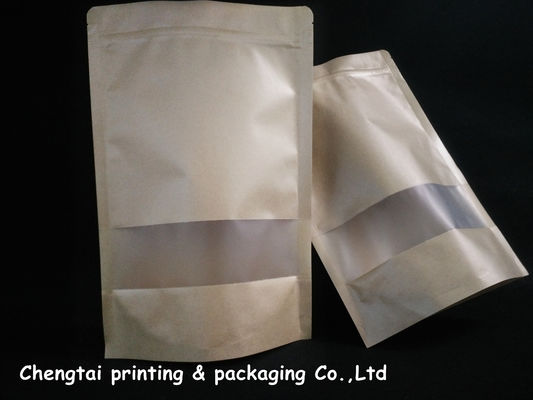 Eco Friendly Kraft Paper Stand Up Pouch With Zipper / Semi Transparent Window